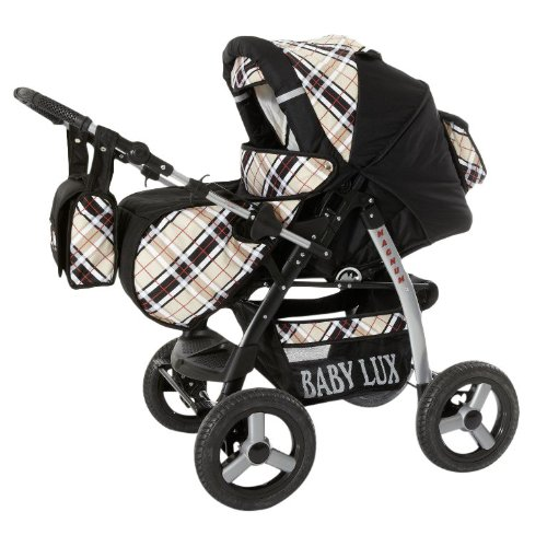 Lux4Kids-Magnum-2-in-1-Pram-Combi-Stroller-Pushchair-rain-cover-mosquito-net-cup-holder-changing-pad-47-colors-65-Black-Beige-Checked