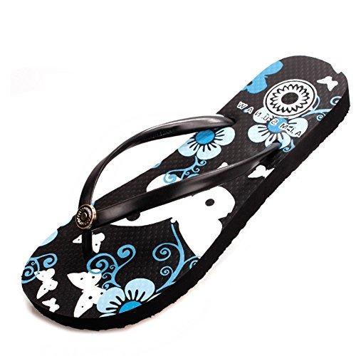 Loisirs d'été nouvelle fleur papillon tongs/Pincée de femelle avec des sandales plates/pantoufles de plage glisser