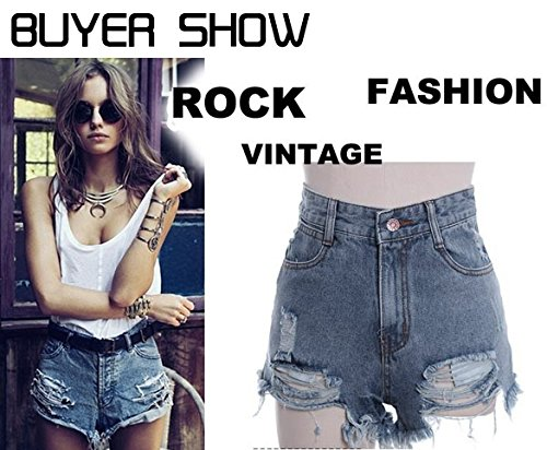 Zeagoo Women's Punk Rock Vintage Grunge Hole Water Wash Retro Shorts Jeans 1