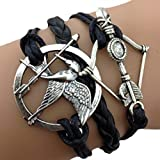 Infinity Hunger Games Bow And Arrow Bracelet / One Direction Bracelet / Love - Black Bracelet / Silver