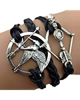 Bracelet Infini Hunger Games Arc et Flèche / Infinity / One Direction / Love - Noir / Argenté