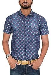 Botticelli Men's Denim Printed Half Sleeve Shirt (3591-HALF-E-M_Denim_Medium)