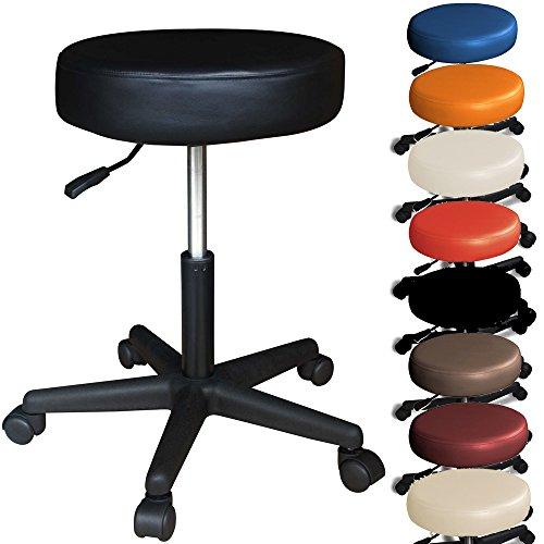 Rollhocker-Barhocker-mit-Rollen-hhenverstellbar-viele-Farben-360-drehbar-Arbeitshocker-Praxishocker-Schwarz