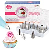 Chic Cuisine 18 Pcs Cake Decorating Tips Set in a GIFT BOX incl. 16 Professional Quality Stainless Steel Icing Piping Frosting Nozzles, 1 Coupler and a BONUS 14