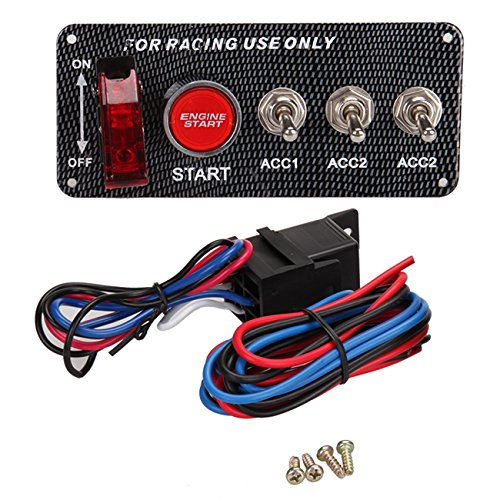 PanelTech DC 12V Ignition Switch Panel W/ Engine Start Push Button for Racing Car (Race Ignition Switch compare prices)