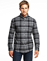 2in Longer Blue Harbour Brushed Pure Cotton Herringbone Checked Shirt