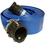 """Apache 98138066 3"""" x 50' Blue Standard-Duty PVC Lay-Flat Discharge Hose with Poly Cam Lock Fittings"""