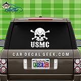 USMC Marines Skull Military Veteran Car & Truck Window Decal Sticker, Laptop Decal Sticker, Macbook Decal Sticker, Wall Decal Sticker , 14-Inch , White