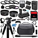 The Everything You Need Digital Camera DSLR Ultimate Package includes (2) High Capacity LP-E6 LPE6 Replacement Battery with Car International Charger + 32GB Memory Card + Deluxe DSLR Travel Case + 58mm 0.43x High Definition AF Wide Angle Lens + 2.2x AF Telephoto Lens + Multi Coated HD 3 Pc. Digital Filter Set + 4pc HD Macro Close Up Filter Set + Full Size Pro Series DSLR Digital Camera 57