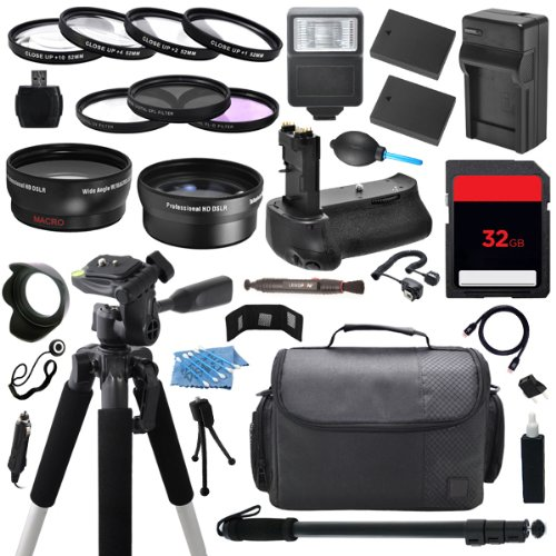 The Everything You Need Digital Camera Dslr Ultimate Package Includes (2) High Capacity En-El14 Enel14 Replacement Battery With Car/International Charger + 32Gb Memory Card + Deluxe Dslr Travel Case + 52Mm 0.43X High Definition Af Wide Angle Lens + 2.2X A