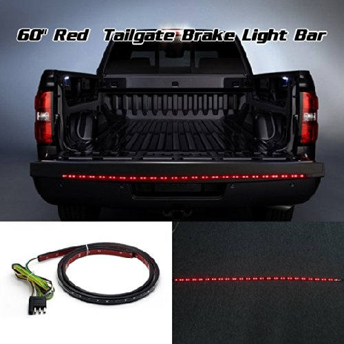 "Partsam 60"" Truck Tailgate Red Led Light Bar Strip Brake Rear Turn Signal Tail Light For Chevrolet Pickup Truck C1500 C1500 C3500"