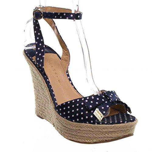 Ivanka Trump Women'S Saffire2 Wedge Sandal,Navy Blue Polka Dot,9.5 M Us front-707916