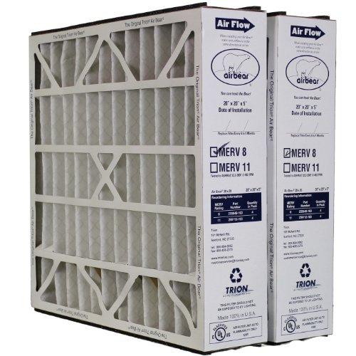 """Trion Air Bear 255649-103 (2 Pack) Pleated Furnace Air Filter 20""""x20""""X5"""" MERV 8"""