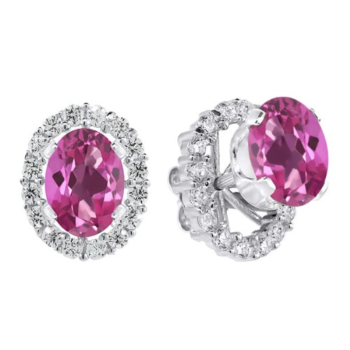 2.00 Ct 7x5 mm Sterling Silver Pink Mystic Topaz Removable Jacket Stud Earrings