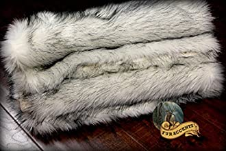 Fur Accents Russian Wolf Throw Blanket Black Tip Faux Fur Cuddle Fur Minky Lining 339x539
