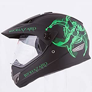 Biohazard Dual Sport Atv Utv Motocross Street Bike Hybrid Helmet DOT (L) by Ivolution Sports, Inc