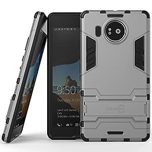 Lumia 950 XL Case, CoverON® [Shadow Armor Series] Hard Slim Hybrid Kickstand Phone Cover Case for Microsoft Lumia 950 XL - Silver & Black
