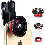TC JOY カメラレンズキット クリップ式 3点セット(広角レンズ 魚眼レンズ マクロレンズ) iPhone6s/6plus/7/Samsung/Androidスマートフォン、タブレットPCなど対応 レッド