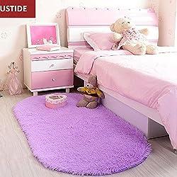 Ustide High Pile Bedside Rugs Velvet Living Room Carpet Purple Super Soft Fuzzy Area Rug Non-Slip Back Floor Rug Oval
