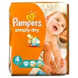 Pampers Simply Dry Size 4 (Maxi) Jumbo 148 Nappies - (Pack of 2)