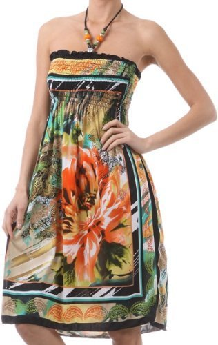 Framed Flower and Paisley Beaded Halter Smocked Bodice Knee Length Dress ( 2 Colours )