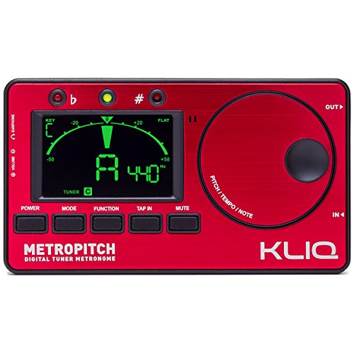 KLIQ MetroPitch - Metronome Tuner for All Instruments - with Guitar, Bass, Violin, Ukulele, and Chromatic Tuning Modes - Tone Generator - Carrying Pouch Included, Red (Digital Tuner Guitar compare prices)