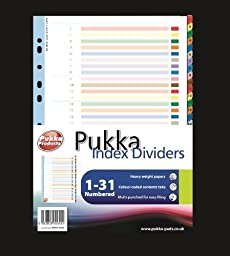 Pukka Multi Coloured Numbered Myler Reinforced 1-31 Part A4 File Index Dividers