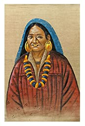 DollsofIndia Old Woman from Tibet - Painting on Cotton Cloth - 28.5x17.5 inches