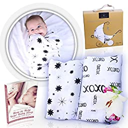 Bamboo Muslin Swaddle Blankets (2-Pack) - By Komo Bébé Chic - X Large, BREATHABLE, Super SOFT, Hypoallergenic Receiving Blankets - Perfect UNISEX Baby Shower Gift & Nursery Set (Stars & XOXO)