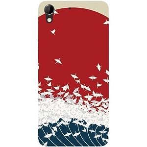 Casotec Sea Waves Design Hard Back Case Cover for HTC Desire 728G
