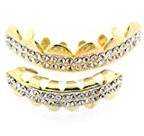 Grillz - 24k Gold Plated - Top & Smaller Bottom Set - 2 Row Iced Out Bling