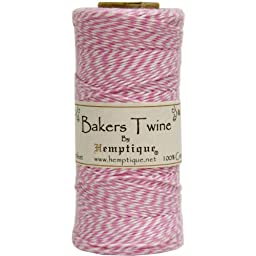 Hemptique Baker\'s Twine Spool, Pink and White