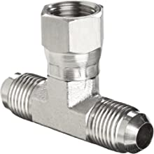 "Brennan 6600-06-06-06-SS, Stainless Steel JIC Tube Fitting, 06MJ-06MJ-06FJS Tee, 3/8"" Tube OD"