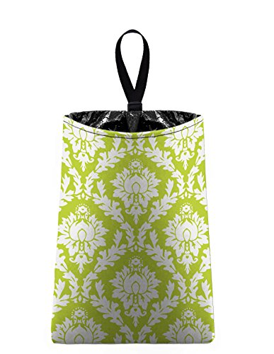Auto Trash (Citrus Green Damask) by The Mod Mobile - litter bag/garbage can for your car (Damask Garbage Can compare prices)