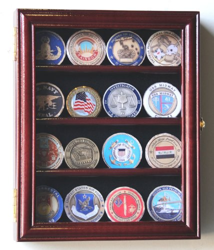 Xs Military Challenge Coin Display Case Cabinet Holder Rack W/ Uv Protection, Cherry