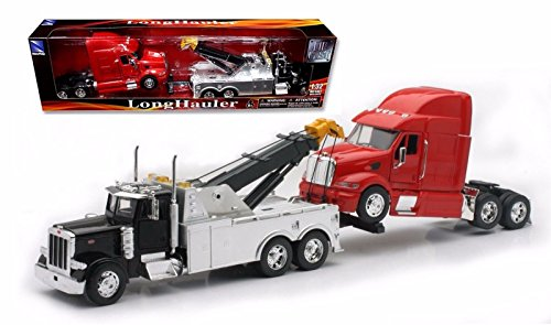 New 1:32 Peterbilt Tow Truck With Red Peterbilt Cab Semi Truck Diecast Model By NEW RAY TOYS (1 32 Die Cast Trucks And Trailers compare prices)
