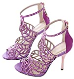 Littleboutique Crystal Studs High Heel Sandals Leather Peep Toe Strappy Sandals Party Heeled Pumps Evening Dress Shoe purple 9.5