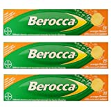 3 pack Berocca Performance 15 Orange Flavor Effervescent Tablets Vitamin B C Calcium Magnesium & Zinc Freeshipping