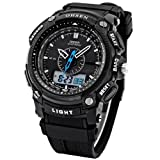 OHSEN LCD Dual Core Mens Women Sport Date Day Stopwatch Black Rubber Band Watch