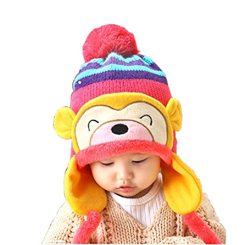 Knit Beanie Cap for Baby, Misaky Winter Warm Kids Girl Boy Ear Thick Hat (Hot Pink)