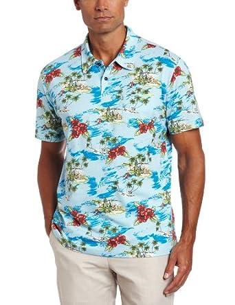 Cubavera Men's Printed Palm Island Jersey Polo, Corydalis Blue, Medium