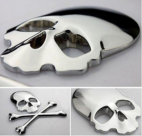Ewin24 1pcsx Argento 3d 3m teschio di metallo scheletro Crossbones Car Design etichetta adesiva Skull distintivo dell'emblema della bici del motociclo