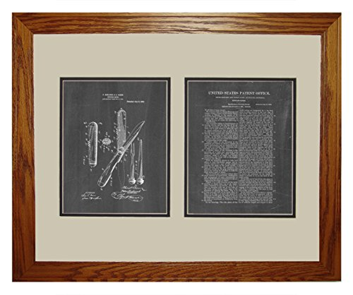 "Hunting-Knife Patent Art Chalkboard Print In A Honey Red Oak Wood Frame (16"" X 20"")"