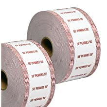 PM Company SecurIT $.50 Penny Automatic Coin Wrap Rolls, White/Red, 1900 Wrappers per Roll, 8 Rolls per Carton (51901)