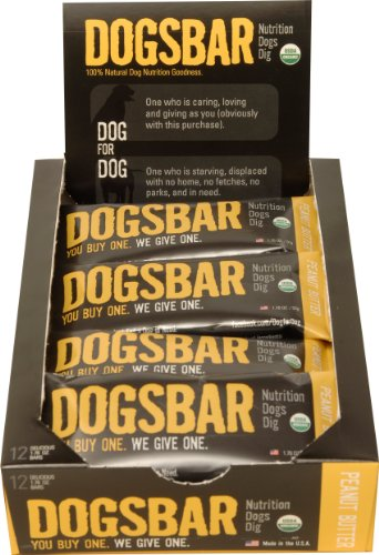 Dog for Dog DOGSBAR Peanut Butter Bar Box for Dogs, 1.59-Ounce, 12 Per Box