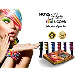 NOVA Premium Temporary Hair Color Chalk Comb-Washable NonToxic and Hair-Dye Safe for Kids Girls Children Adults Party Fans Cosplay - Perfect Gift Idea Set of 6 pcs