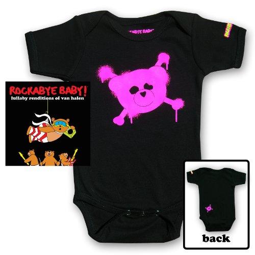 Rockabye Baby! Lullaby Renditions of Van Halen + Rockabye Baby 100% Organic Cotton Onesie (Pink)