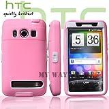 HTC EVOケース スクリーン プロテクター付属3重構造 (au WiMAX ISW11HT Screen Protector Case ) 【白×ピンク】