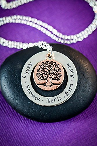 Family Tree Personalized Names Necklace - DII - Grandmother Mom Gift - Handstamped Handmade Jewelry - 1.25, 3/4 Inch 31, 19MM Discs - Custom Names - Fast 1 Day Shipping