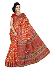 ISHIN Bhagalpuri Silk Orange Printed Saree